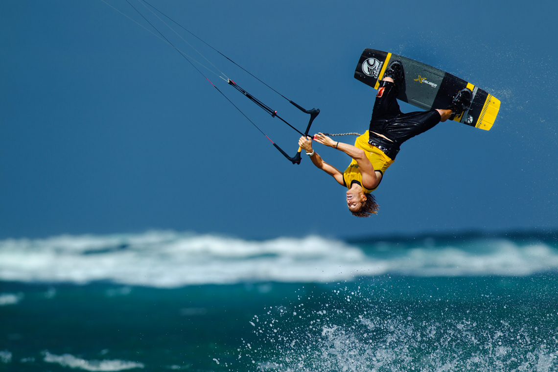 Alberto Rondina inverted on the Cabrinha Xcaliber full carbon board - kitesurfing