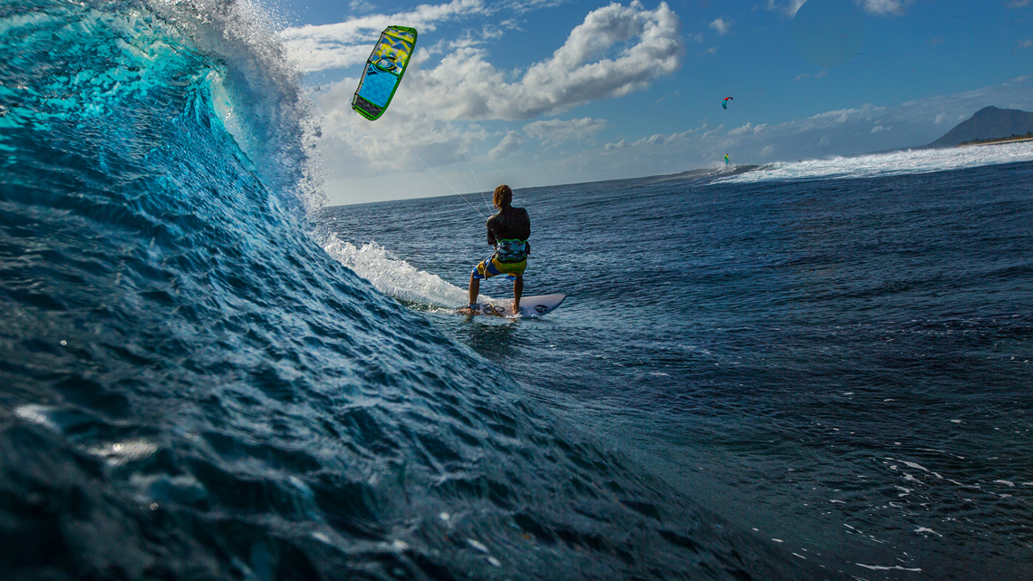 Alberto Rondina at Le Morne Mauritius - surfing a nice tropical wave.