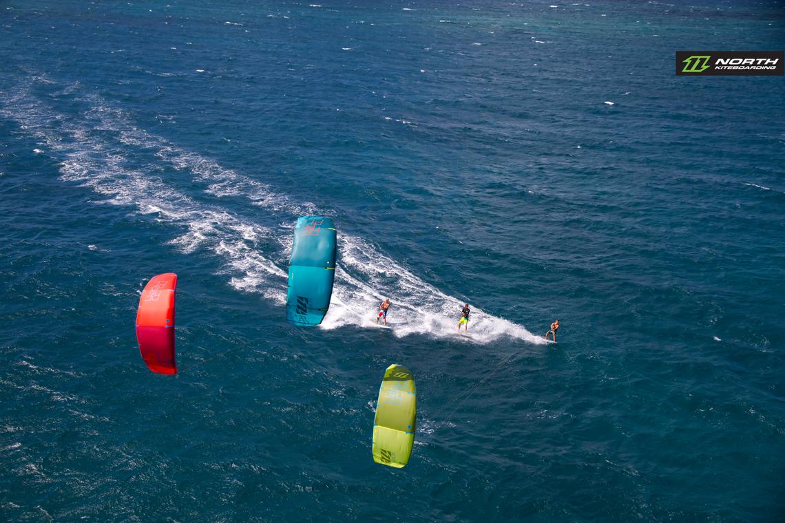 A trio of kitesurfers on the 2015 North Rebel kites - North Kiteboarding