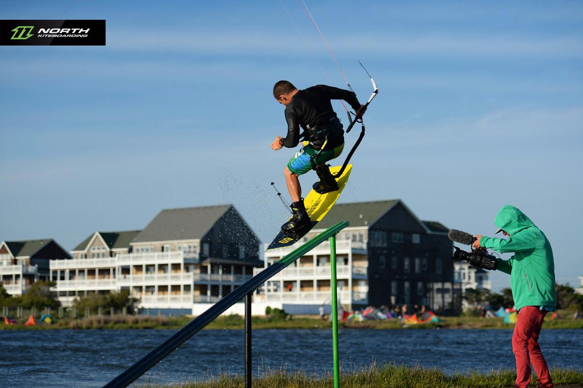 Craig Cunningham on the slider at Cape Hatteras - North kiteboarding
