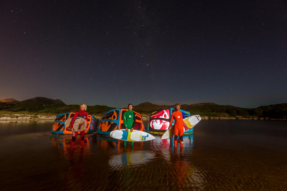 RRD wave trio looking at the stars with their 2015 Religion kites - Abel Lago and Kari Schibevaag - kitesurfing
