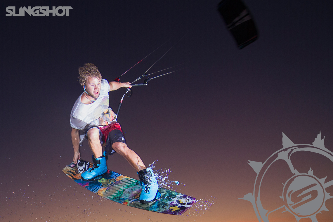 Sam Light feeling his way around in the dark on the 2015 Slingshot Vision board and Fuel
