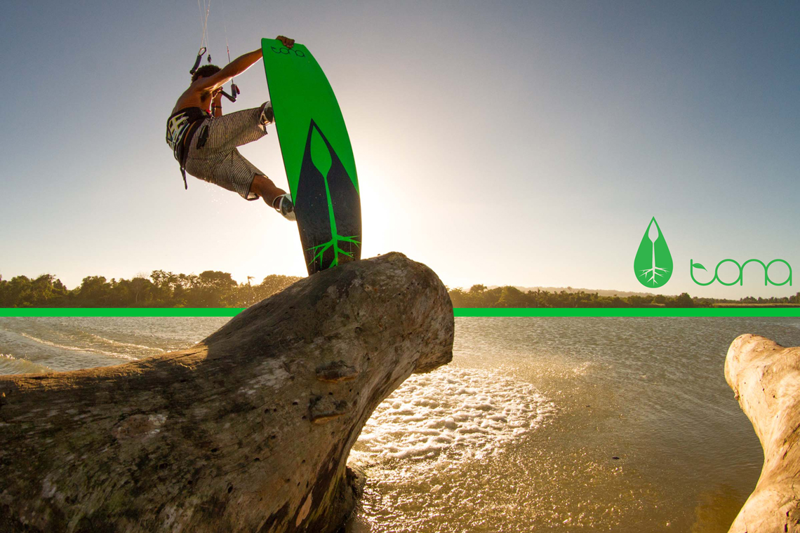 Andre Phillip with a sunset session on the 2015 Tona Flow kiteboard
