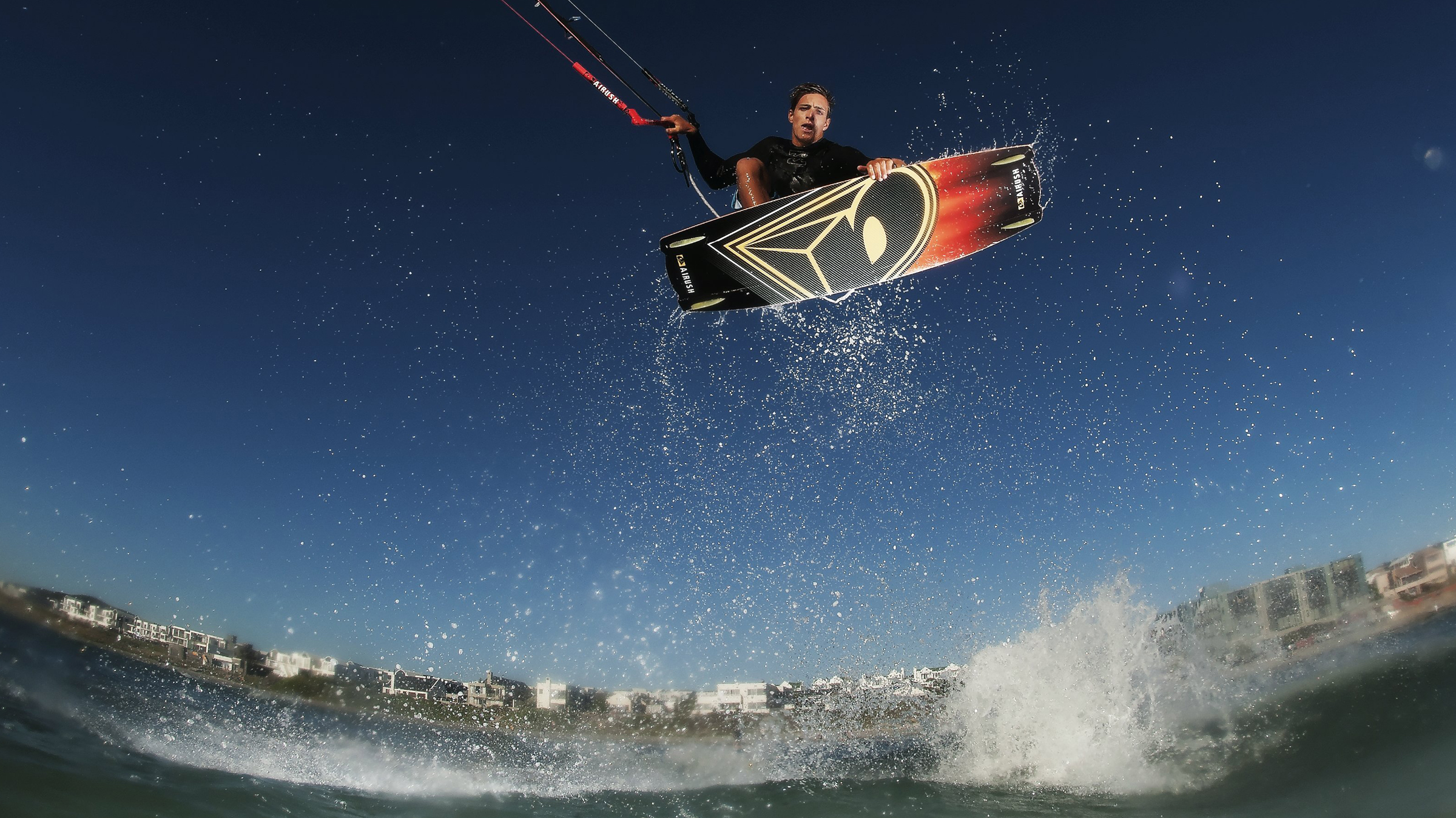 kitesurf wallpaper image - Oswald Smith with a nice Indie Grab at twilight - in resolution: High Definition - HD 16:9 2400 X 1350