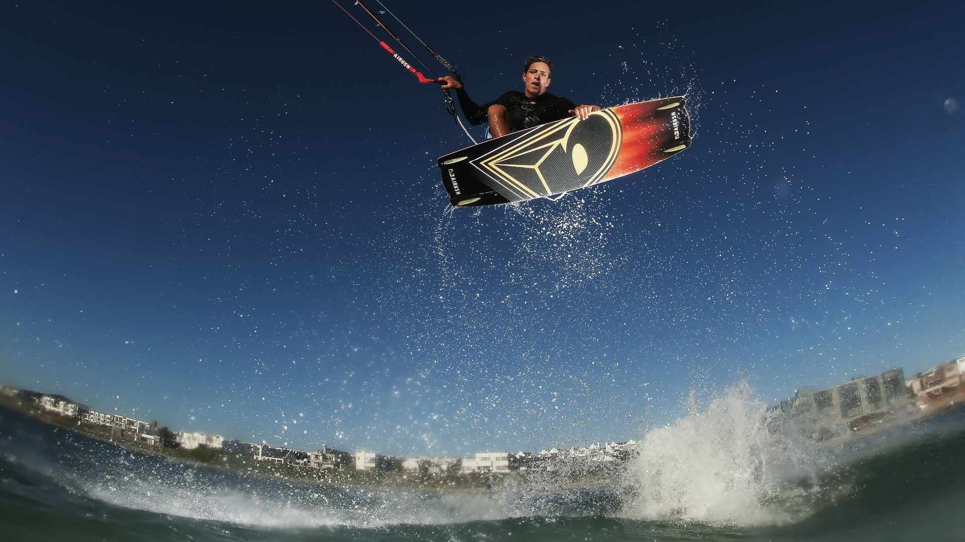 kitesurf wallpaper image - Oswald Smith with a nice Indie Grab at twilight - in resolution: High Definition - HD 16:9 1920 X 1080