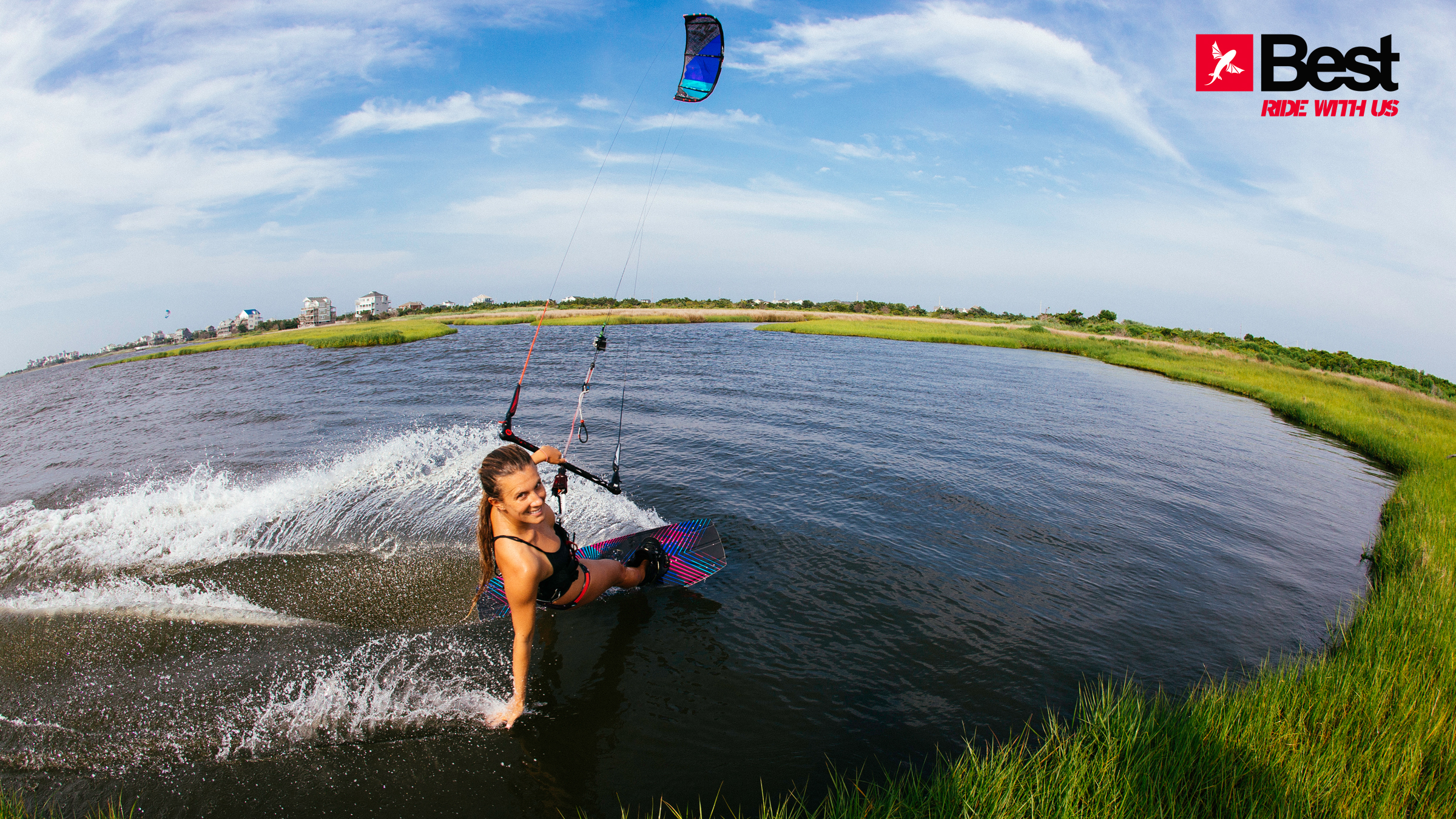 kitesurf wallpaper image - Cruising along the grass with the 2015 Best Kiteboarding TS kite - in resolution: High Definition - HD 16:9 2400 X 1350