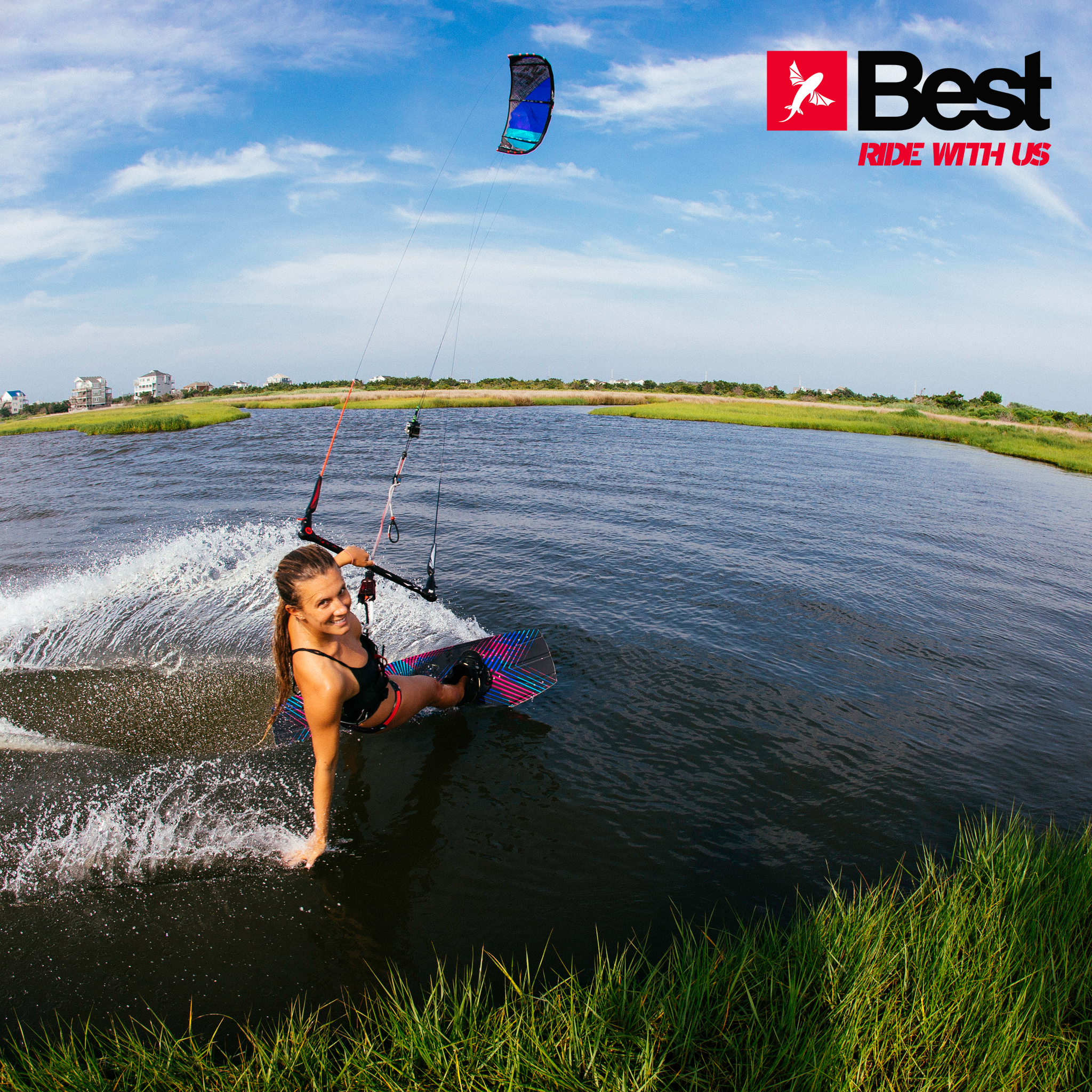 kitesurf wallpaper image - Cruising along the grass with the 2015 Best Kiteboarding TS kite - in resolution: iPad 2 & 3 2048 X 2048