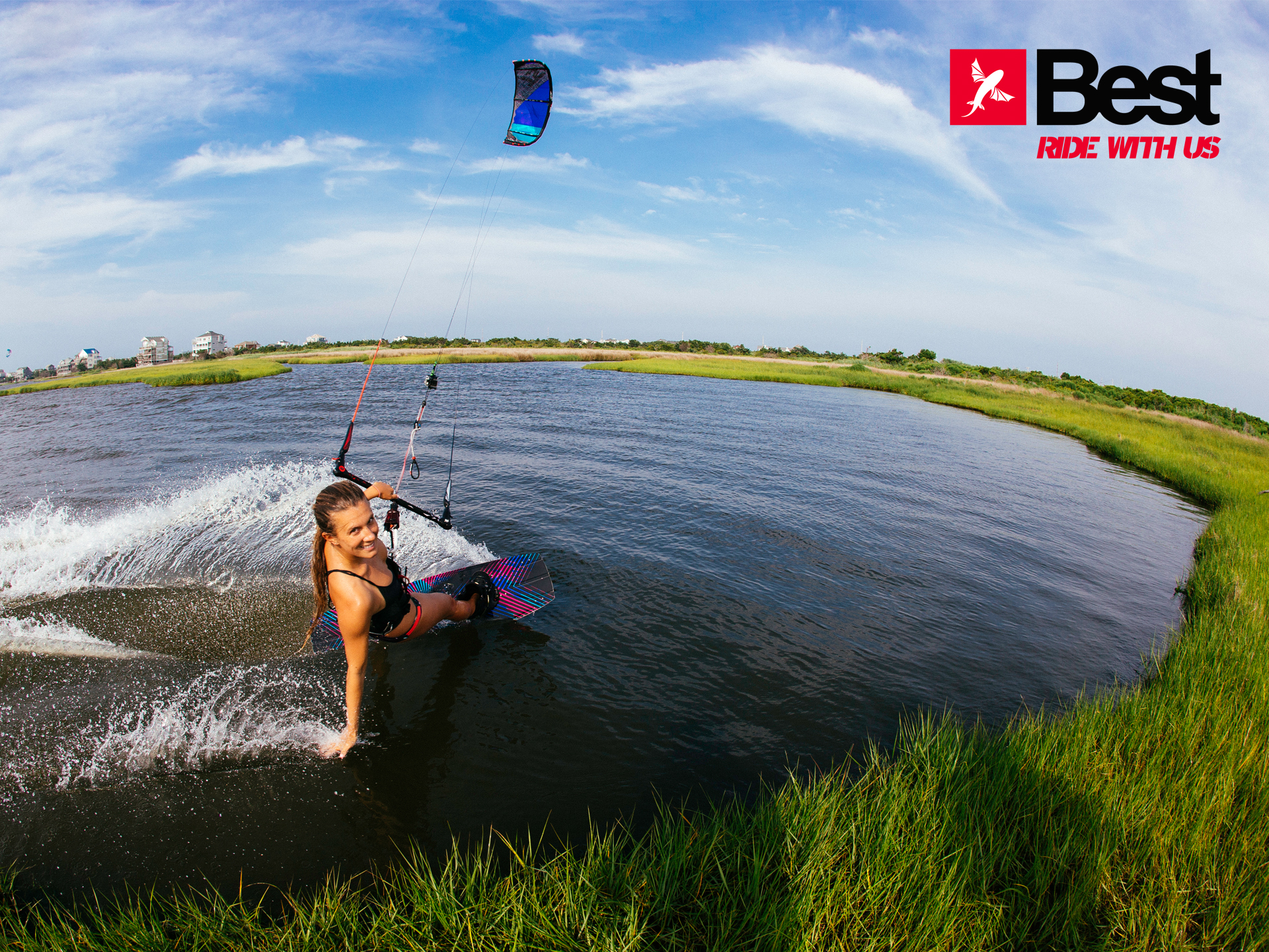 kitesurf wallpaper image - Cruising along the grass with the 2015 Best Kiteboarding TS kite - in resolution: Standard 4:3 1920 X 1440