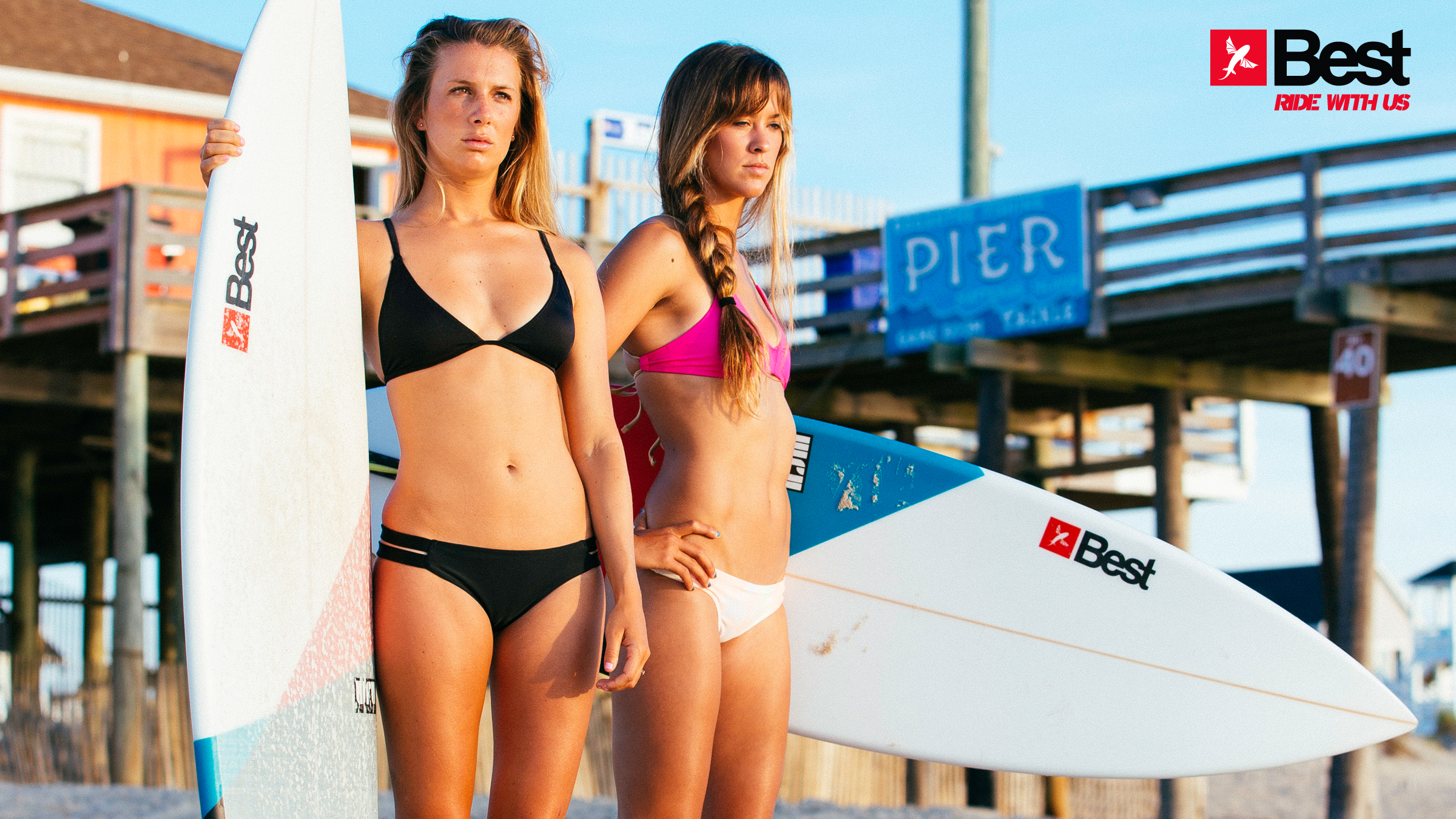kitesurf wallpaper image - Two Best Kiteboarding kitechicks in bikini with surfboards looking to take a ride - in resolution: High Definition - HD 16:9 2400 X 1350