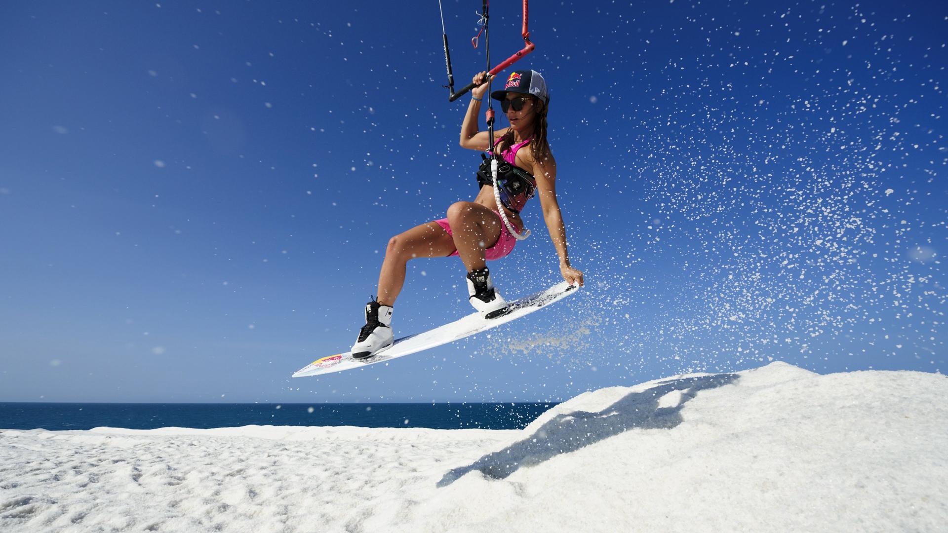 kitesurf wallpaper image - Bruna Kajiya jumping from salt mountain - in resolution: High Definition - HD 16:9 1920 X 1080