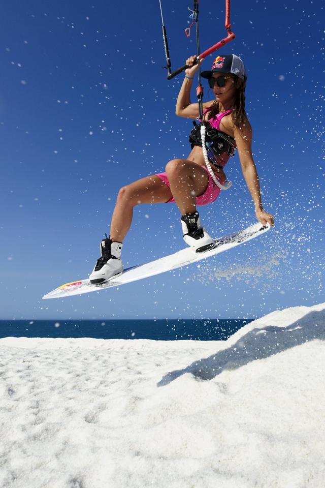 kitesurf wallpaper image - Bruna Kajiya jumping from salt mountain - in resolution: iPhone 640 X 960