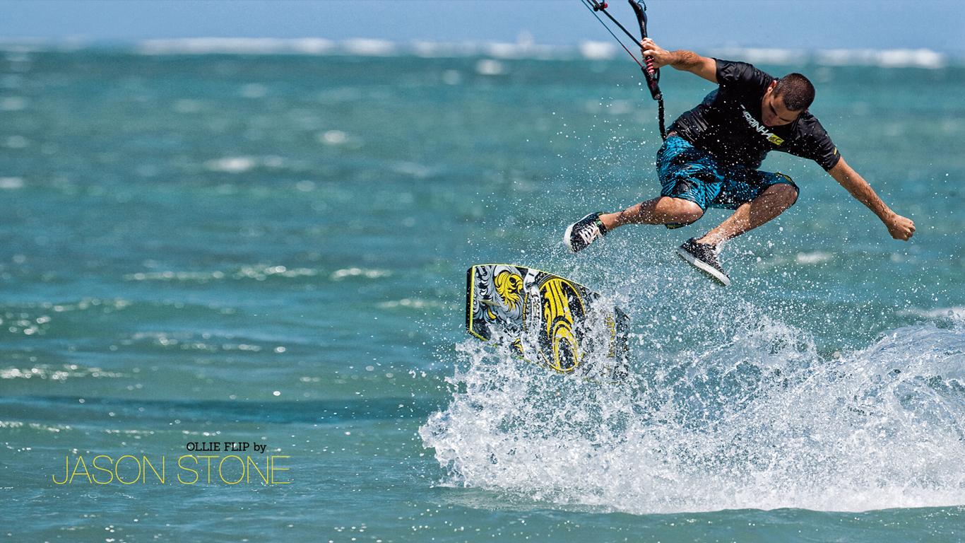 kitesurf wallpaper image - Jason on the wake skate - in resolution: High Definition - HD 16:9 1366 X 768