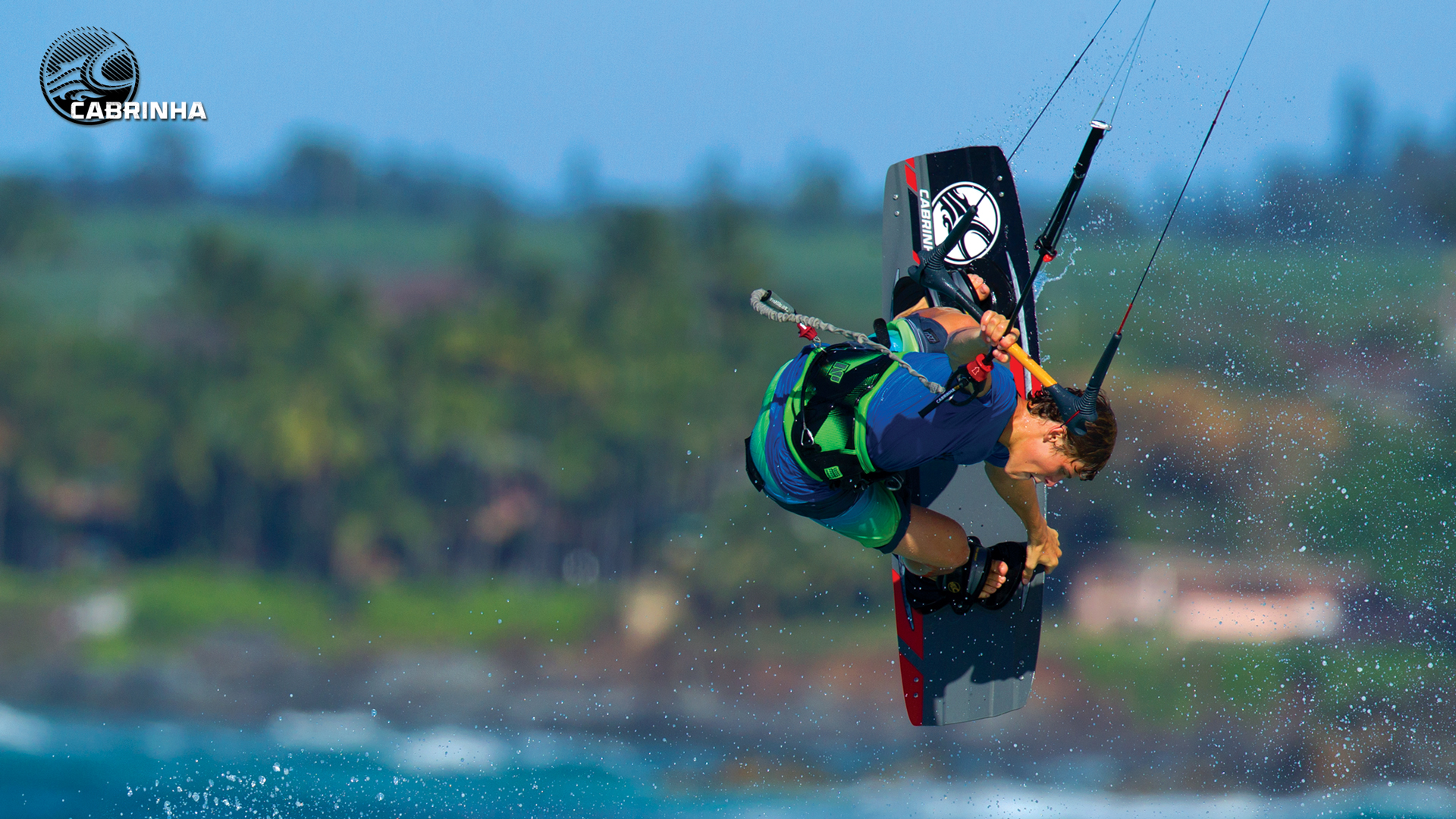 kitesurf wallpaper image - Liam Whaley on the 2015 Cabrinha Ace twintip with a nice board grab. - in resolution: High Definition - HD 16:9 1920 X 1080