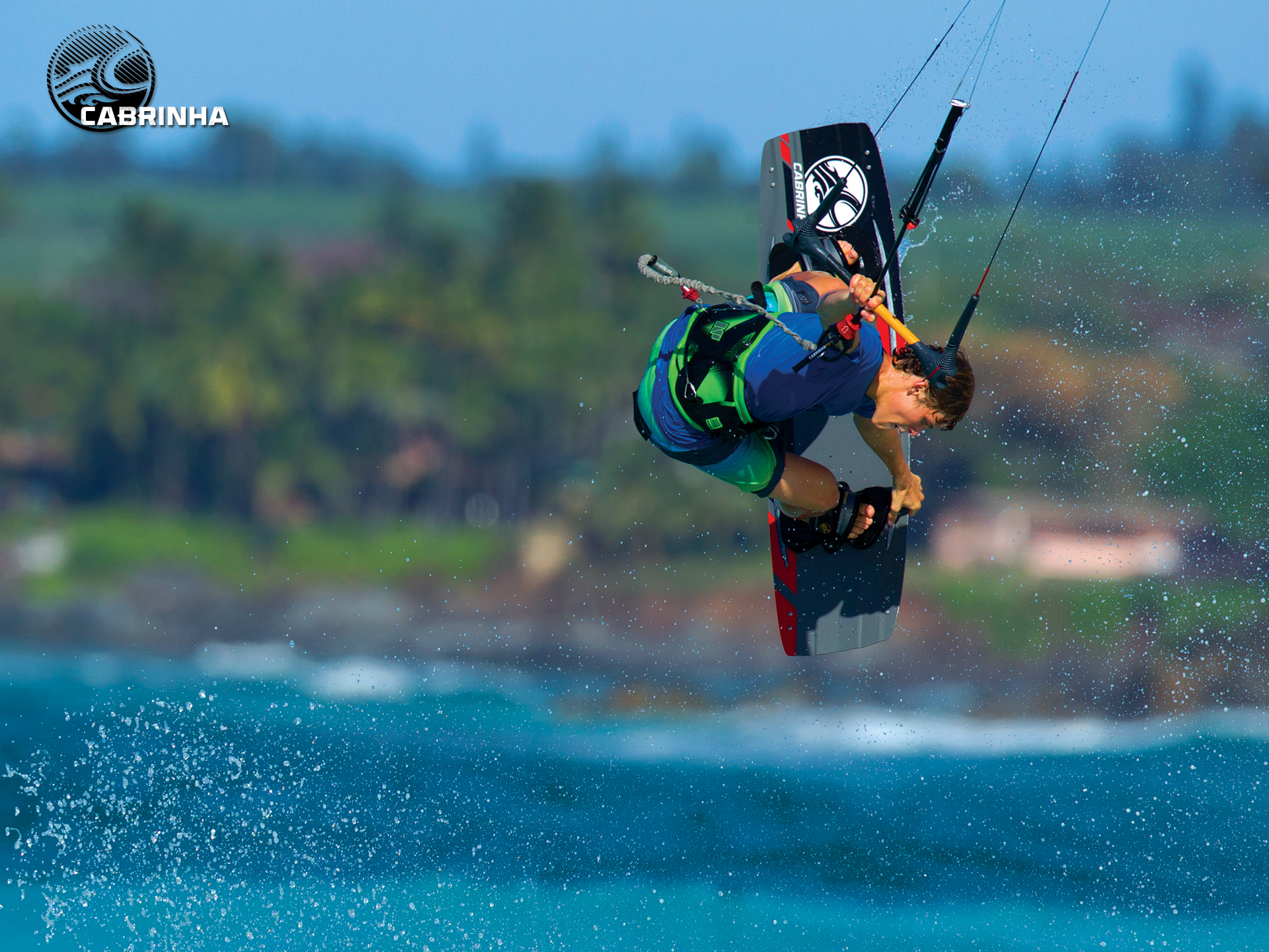 kitesurf wallpaper image - Liam Whaley on the 2015 Cabrinha Ace twintip with a nice board grab. - in resolution: Standard 4:3 1920 X 1440