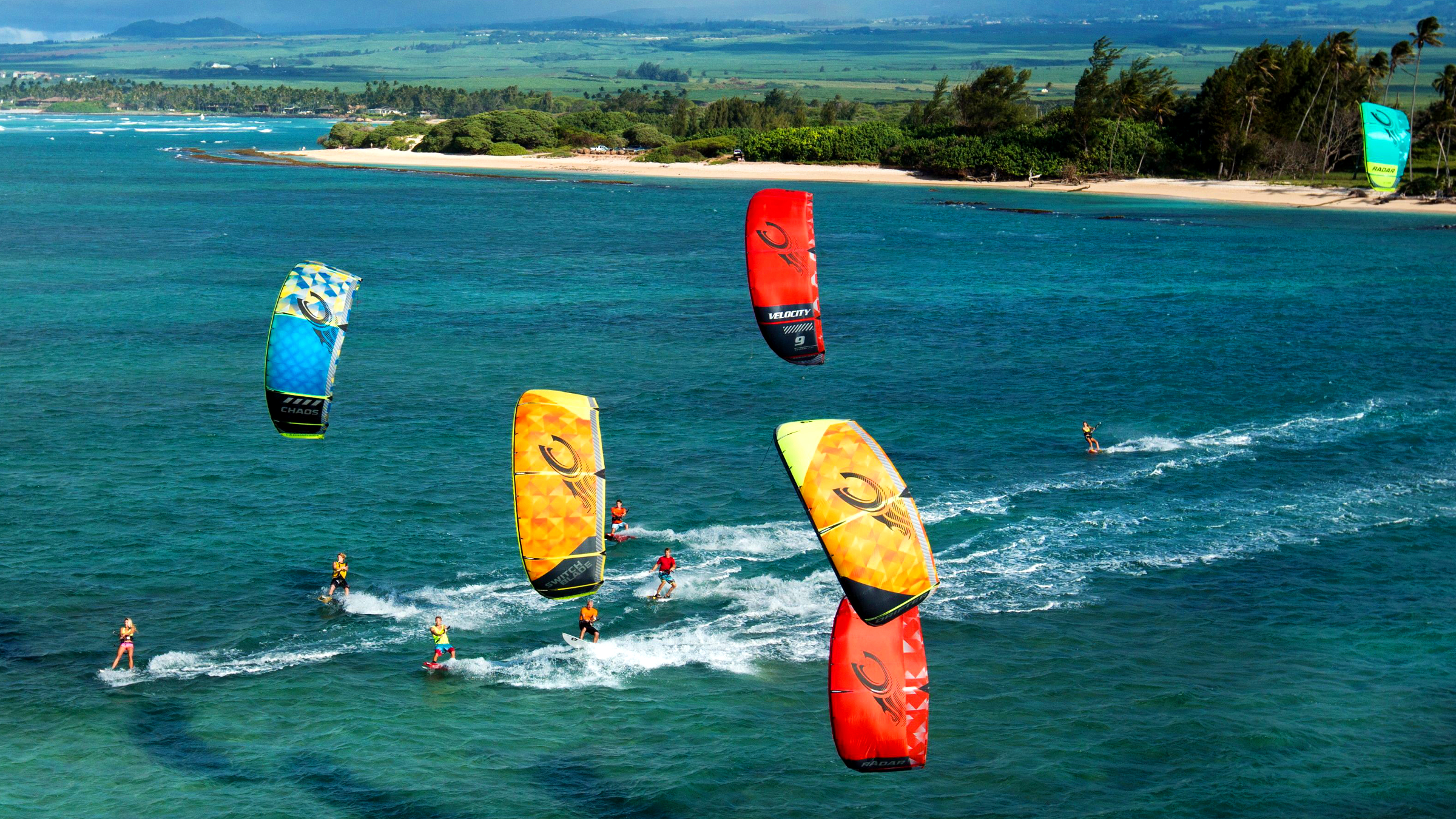 kitesurf wallpaper image - The 2015 Cabrinha Kites teamriders kitesurfing off the coast of Hawaii. - in resolution: High Definition - HD 16:9 2400 X 1350