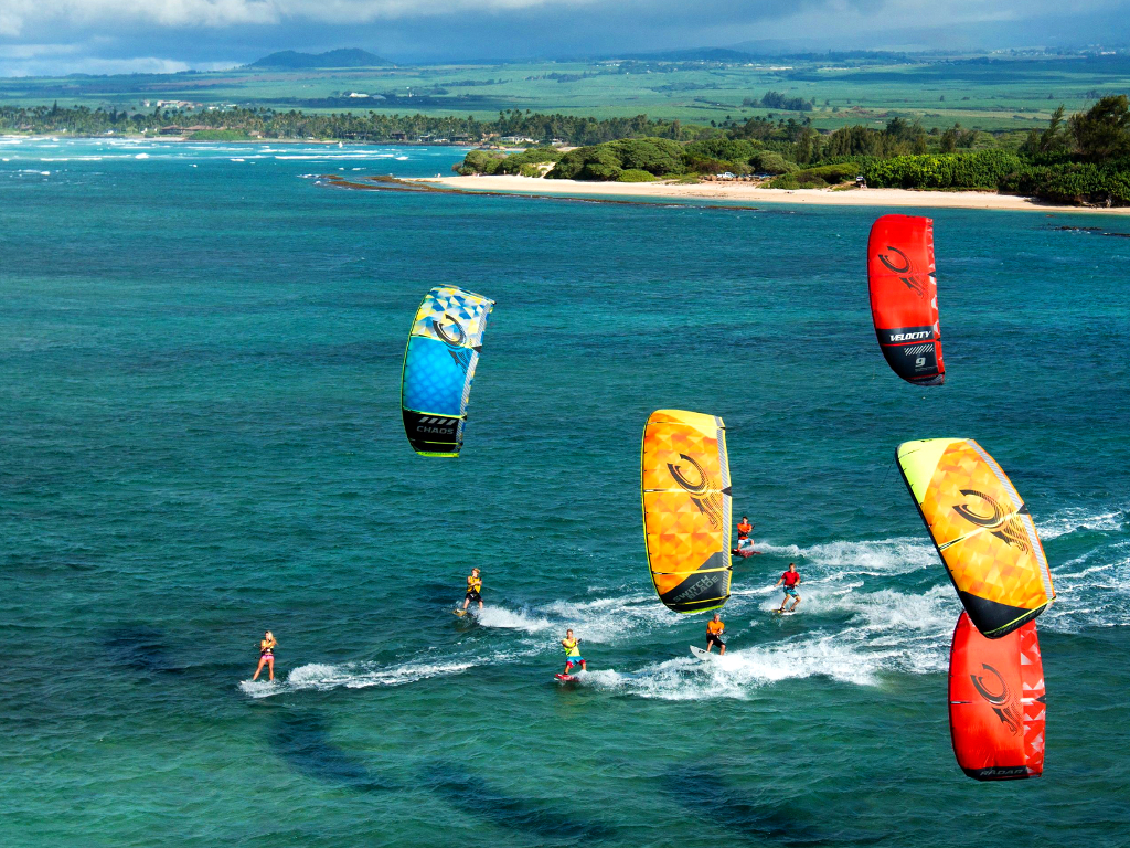 kitesurf wallpaper image - The 2015 Cabrinha Kites teamriders kitesurfing off the coast of Hawaii. - in resolution: iPad 1 1024 X 768