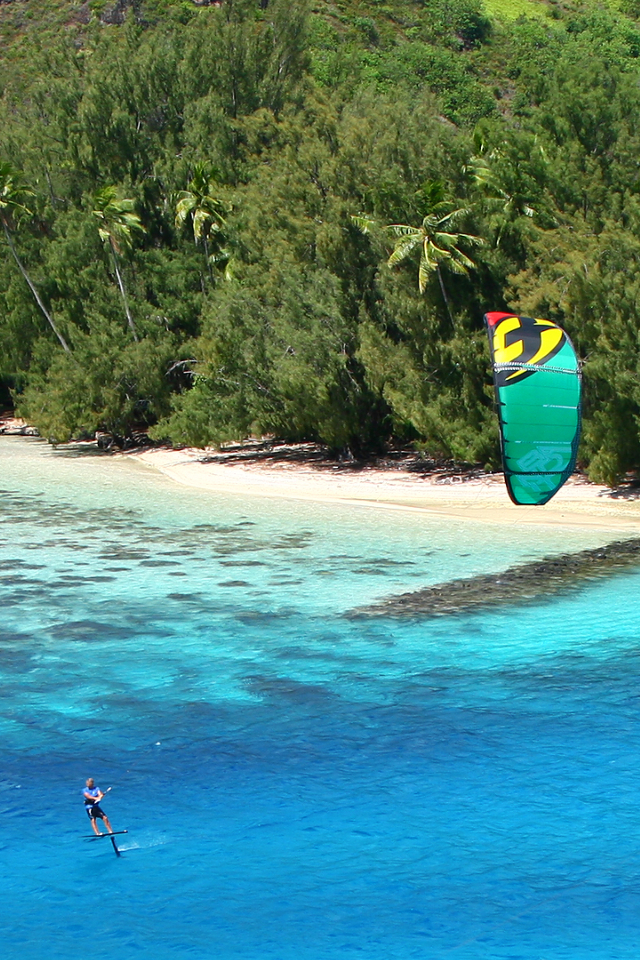 kitesurf wallpaper image - Cruising on the foilboards with the 2015 F-One Bandit - kitesurfing in tropical waters - in resolution: iPhone 640 X 960
