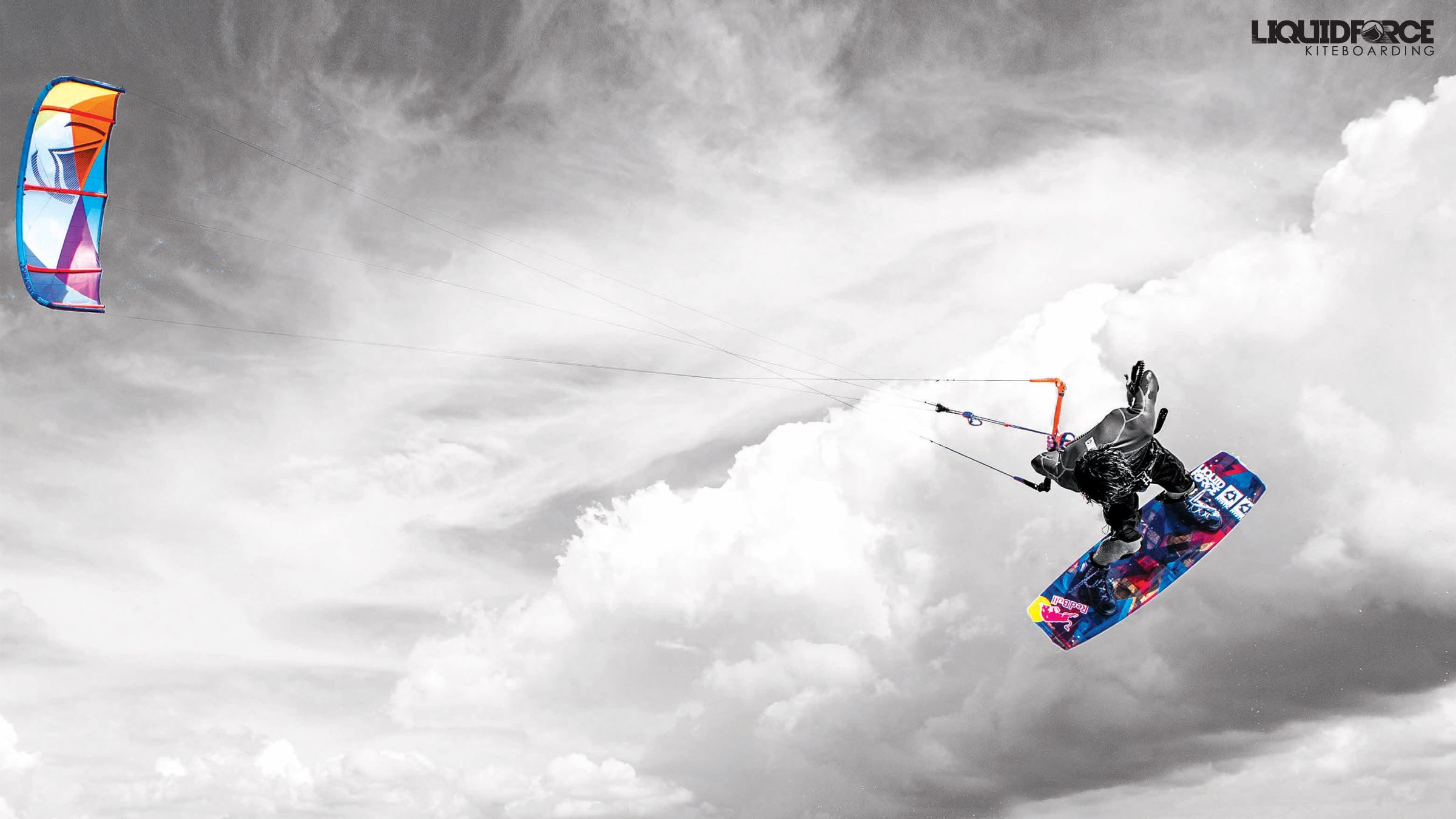 kitesurf wallpaper image - Christophe Tack on the 2015 Liquid Force HIFI-X kite and element kiteboard during a handle pass  - in resolution: High Definition - HD 16:9 2400 X 1350