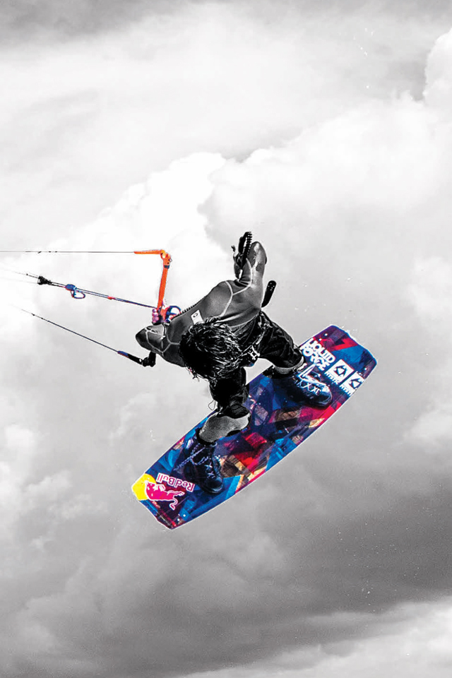 kitesurf wallpaper image - Christophe Tack on the 2015 Liquid Force HIFI-X kite and element kiteboard during a handle pass  - in resolution: iPhone 640 X 960