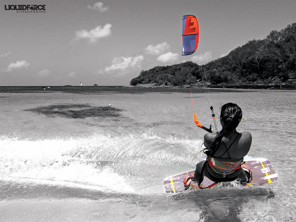 kitesurf wallpaper image - Sensi Graves with the 2015 Liquid Force Envy Kite and riding the carbon element kiteboard - in resolution: iPad 1 1024 X 768