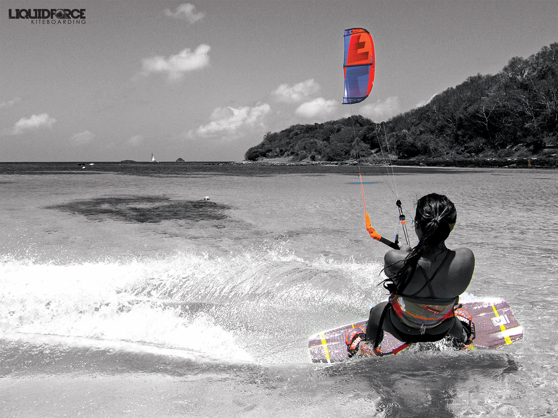 kitesurf wallpaper image - Sensi Graves with the 2015 Liquid Force Envy Kite and riding the carbon element kiteboard - in resolution: Standard 4:3 1920 X 1440