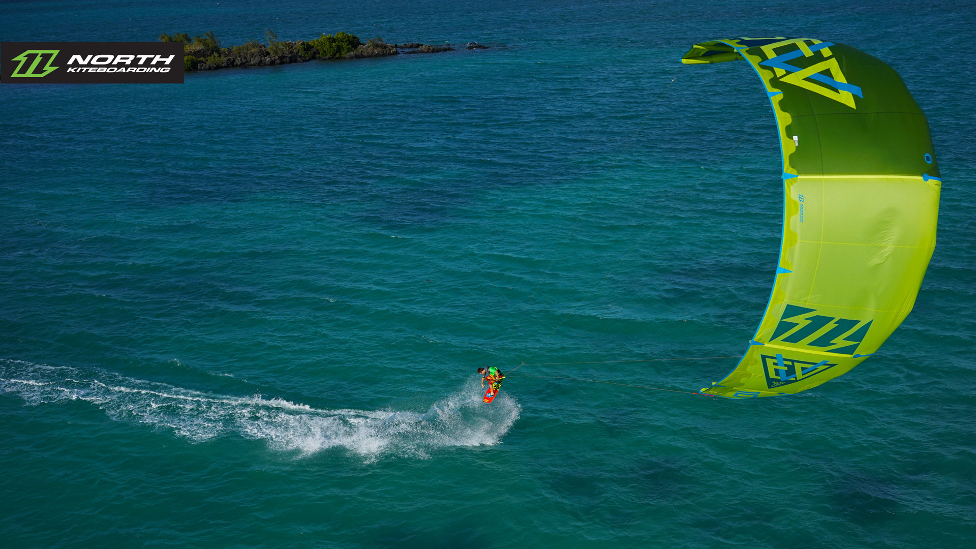 kitesurf wallpaper image - The 2015 North Evo as seen from above - kitesurfing - in resolution: High Definition - HD 16:9 1920 X 1080