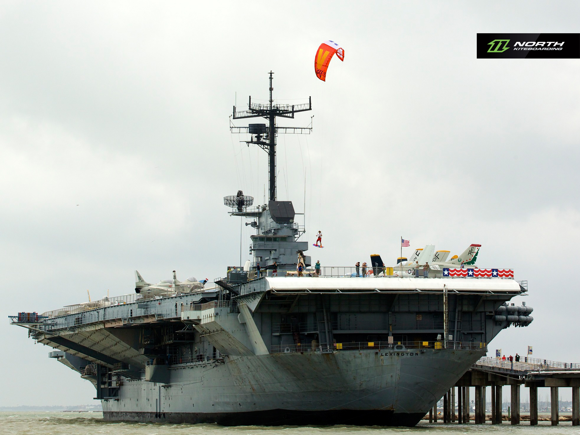kitesurf wallpaper image - Jumping off an aircraft carrier with a North Vegas kite - in resolution: Standard 4:3 1920 X 1440