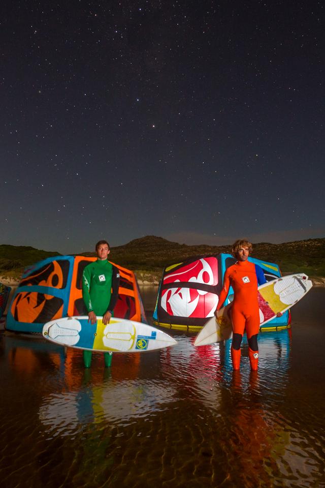kitesurf wallpaper image - RRD wave trio looking at the stars with their 2015 Religion kites - Abel Lago and Kari Schibevaag - kitesurfing - in resolution: iPhone 640 X 960