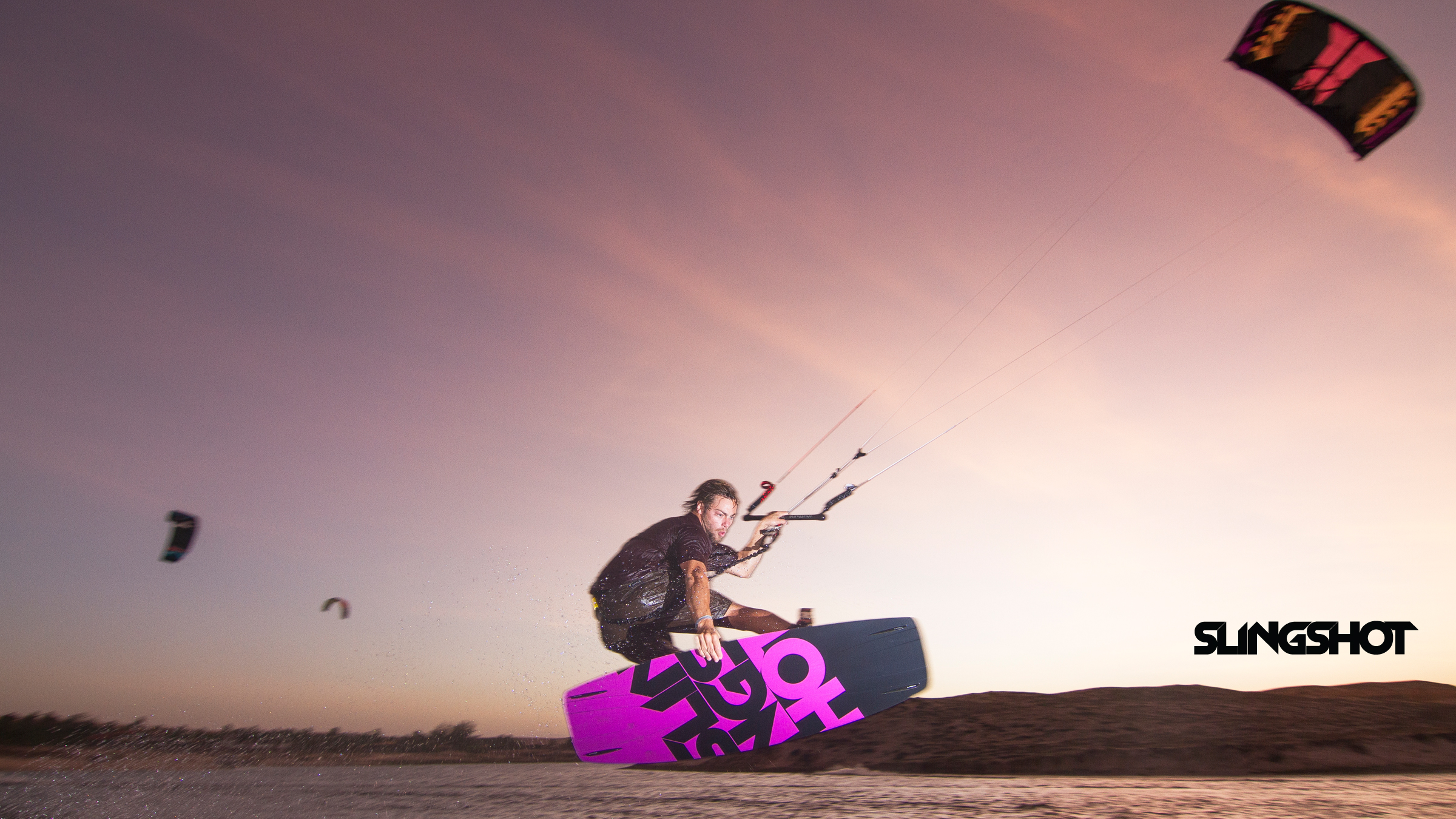 kitesurf wallpaper image - Grabbing some rail on the 2015 Slingshot Asylum board and flying the RPM kite. - in resolution: High Definition - HD 16:9 2400 X 1350