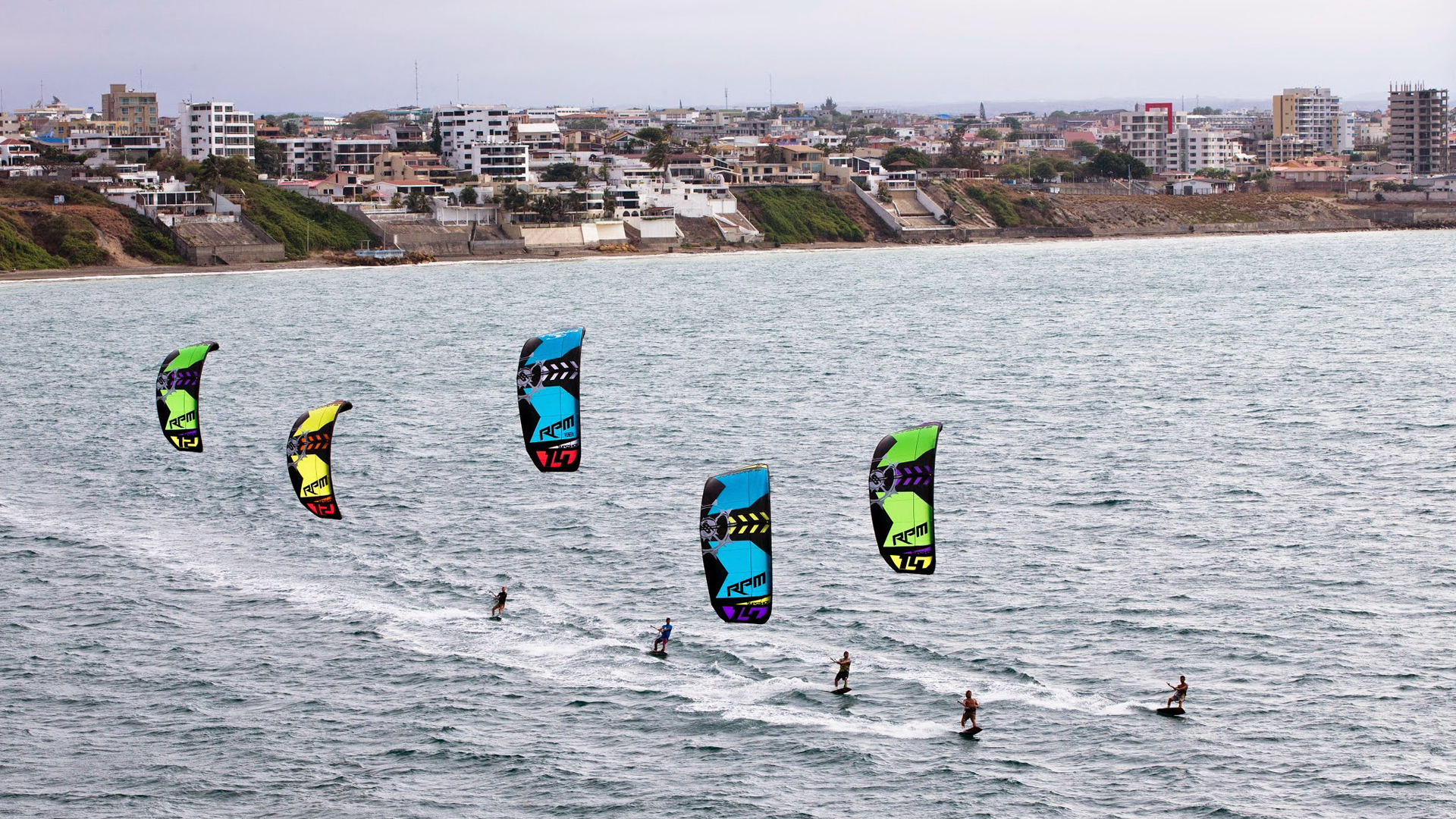 kitesurf wallpaper image - Slingshot RPM riders taking control of the bay - in resolution: High Definition - HD 16:9 1920 X 1080