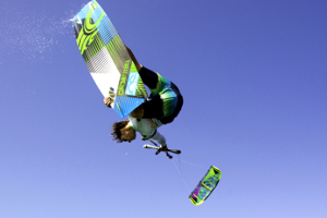 The Cabrinha Chaos kite in action - board grab kitesurfing