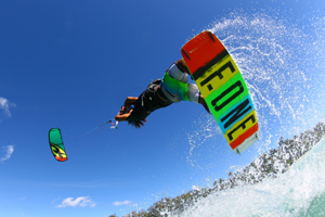 Jump on the 2015 F-One Acid HRD Carbon series kiteboard and bandit kite.