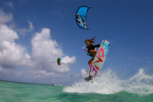 Celine Rodenas backroll with grab kitesurfing
