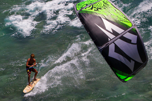 Kai Lenny cruising with the Naish Park kite and Alaia kiteboard off Hawaii