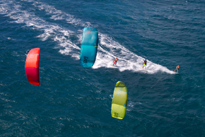 A trio of kitesurfers on the 2015 North Rebel kites - North Kiteboarding