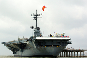 Jumping off an aircraft carrier with a North Vegas kite