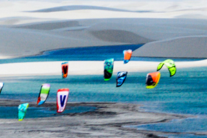 An arial shot of the Red Bull Rally dos Ventos kitesurfing event in Brazil.