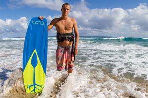 Jake Kelsick showing off the new 2015 Tona Pop kiteboard